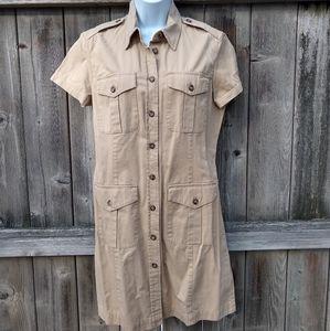Ralph Lauren (Lauren) Tan Utility Safari Dress